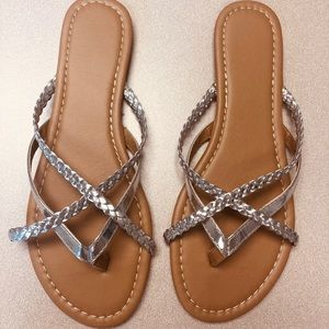 Shoes - Silver slip on sandals